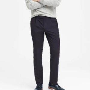 Modern Slim Fit Solid Wool Trouser Navy Blue NEW